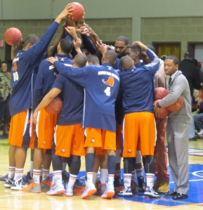 Members of the Lion Lions huddle during Saturday's contest with Bowie State
