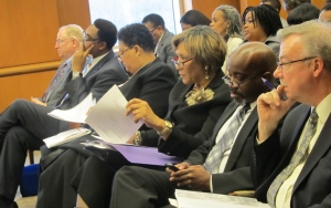 Members of the Lincoln University community listen in during Friday's Board of Trustee's meeting. (Asia Renee)