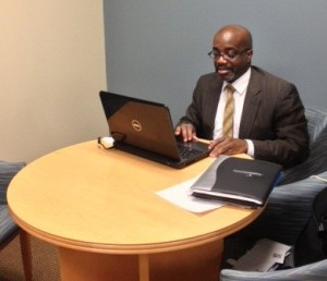 Vice President of Student Affairs Dr. Carl Walton works on a project in his office.Walton plays an essential role in the Summer Academic Program,beginning its second year in June.