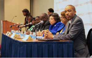 "National Pan-Hellenic leaders speaking during the ""Change the Face of the Yard"" forum on Oct. 25 at the Annual Legislative Conference of the Black Caucus Foundation.  Photo credit: Federico Ghelli"